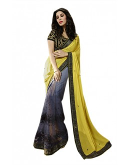 Casual Wear Yellow & Grey Georgette Saree  - RoshniK90