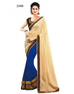 Ethnic Wear Cream & Blue Georgette Saree  - RoshniV104B