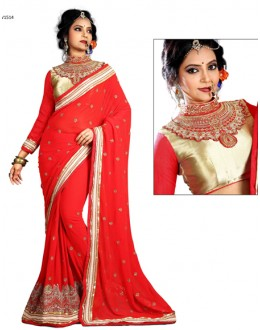 Designer Red & Cream Georgette Saree  - RoshniV1514