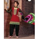 Office Wear Red & Black Cotton Patiyala Suit  - BEBE02
