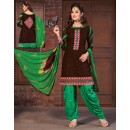 Office Wear Brown & Green Cotton Patiyala Suit  - BEBE03