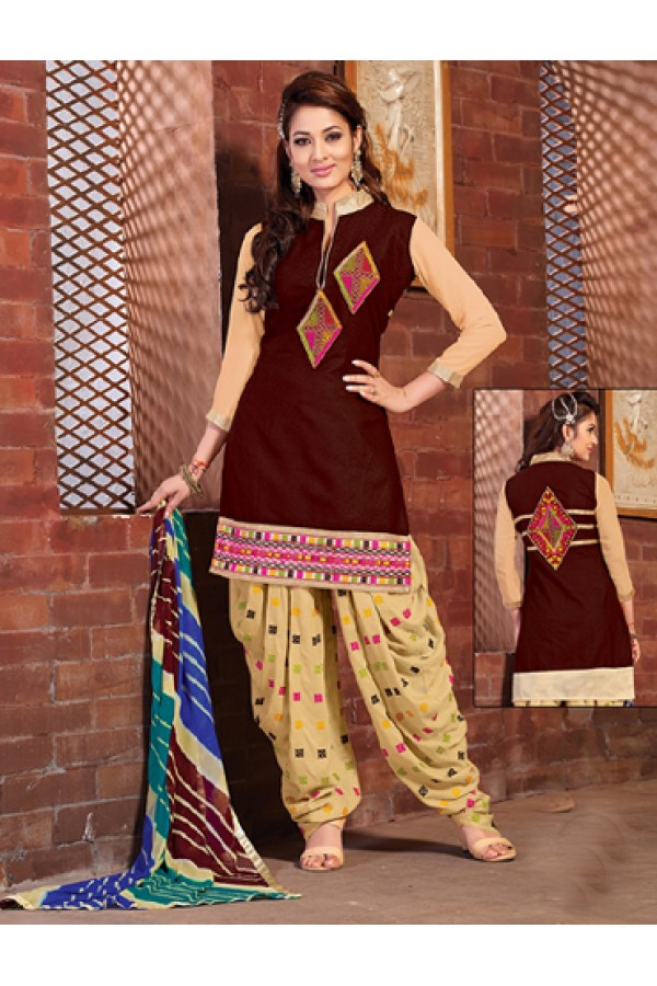 Ethnic Wear Brown & Cream Cotton Patiyala Suit  - BEBE05
