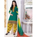 Office Wear Green Cotton Jacquard Patiyala Suit  - KACHCHHI04