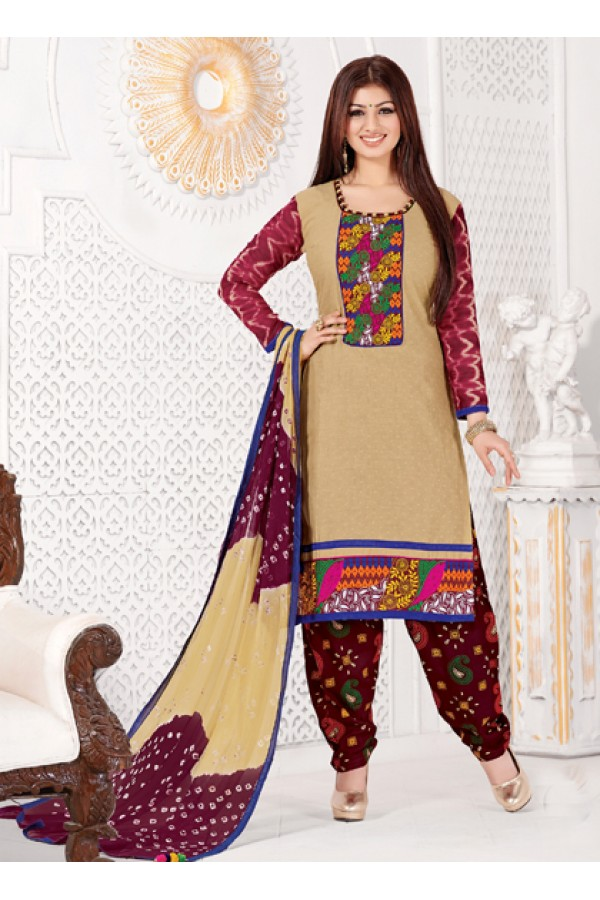 Festival Wear Cream Cotton Jacquard Patiyala Suit  - KACHCHHI09