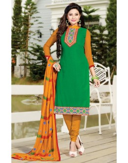 Ethnic Wear Green & Yellow Cotton Salwar Suit  - NAVRANG05