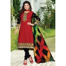 Office Wear Red & Black Cotton Salwar Suit  - NAVRANG07