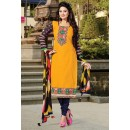 Ethnic Wear Yellow & Purple Cotton Salwar Suit  - NAVRANG09