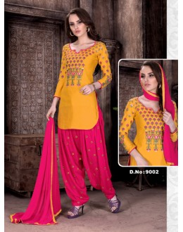 Office Wear Yellow Cambric Cotton Patiyala Suit  - Rudra9002