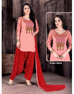Cambric Cotton Peach Patiyala Suit  - Rudra9004