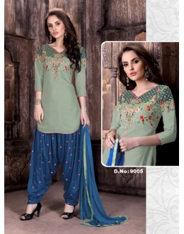 Ethnic Wear Grey Cambric Cotton Patiyala Suit  - Rudra9005