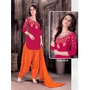 Office Wear Red Cambric Cotton Patiyala Suit  - Rudra9006