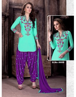Cambric Cotton Firozi Embroidered Patiyala Suit  - Rudra9008