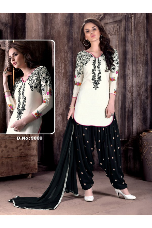 Festival Wear White Cambric Cotton Patiyala Suit  - Rudra9009