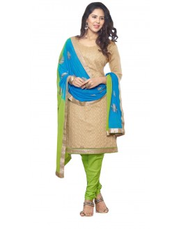 Casual Wear Golden & Green Churidar Suit - SAHELI901