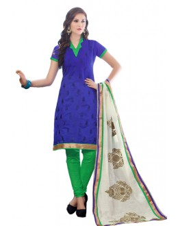 Office Wear Blue & Green Churidar Suit - SAHELI902