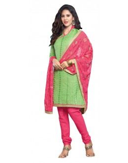 Office Wear Green & Pink Churidar Suit - SAHELI904