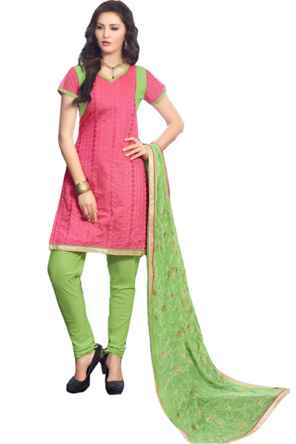 Office Wear Pink & Green Salwar Suit - SAHELI905