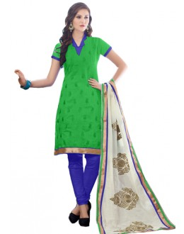 Office Wear Green & Blue Churidar Suit - SAHELI921