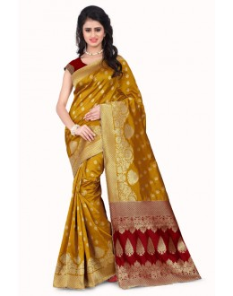 Party Wear Banarasi Silk Saree  - Sanjivani107B YellowRed