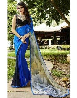 Party Wear Blue & Black Georgette Saree  - Sanskar16104