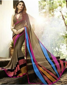 Party Wear Multicolour Georgette Saree  - Sanskar16107