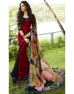 Ethnic Wear Red & Multicolour Georgette Saree  - Sanskar16110