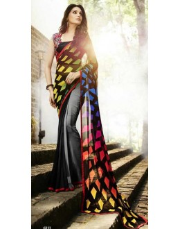 Casual Wear Multicolour Georgette Saree  - Sanskar16111