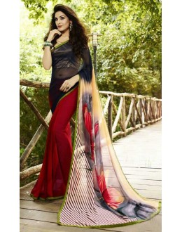 Ethnic Wear Black & Red Georgette Saree  - Sanskar16113