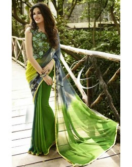 Party Wear Green Georgette Saree  - Sanskar16115