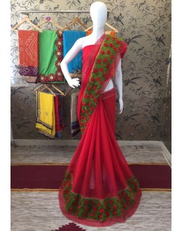 Traditional Red Georgette Saree  - ShanviRed