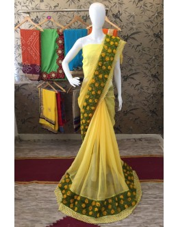 Ethnic Wear Yellow Georgette Saree  - ShanviYellow