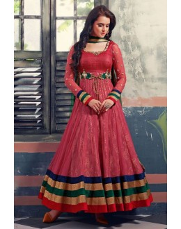 Party Wear Red Georgette Net Anarkali Suit  - 6003