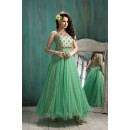 Party Wear Light Green Georgette Net Anarkali Suit  - 6004