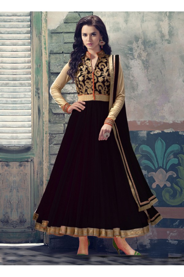 Party Wear Brown Georgette Anarkali Suit  - 6090