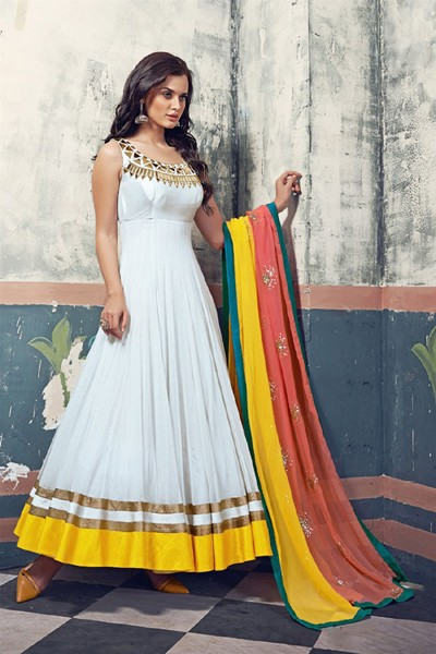 Party Wear White Georgette Anarkali Suit  - 5001