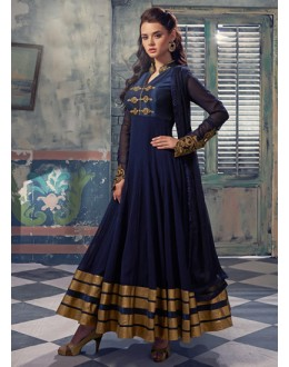 Party Wear Blue Georgette Anarkali Suit  - 5003