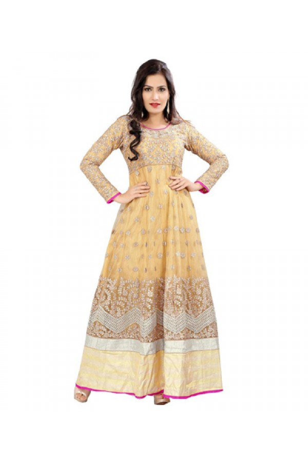 Party Wear Cream Georgette Anarkali Suit  - 1054