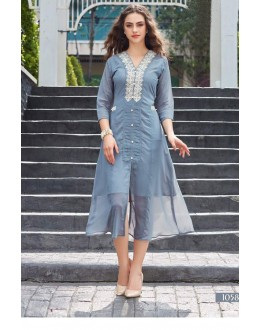 Ethnic Wear Readymade Light Gray Georgette Kurti - Sparrow1058