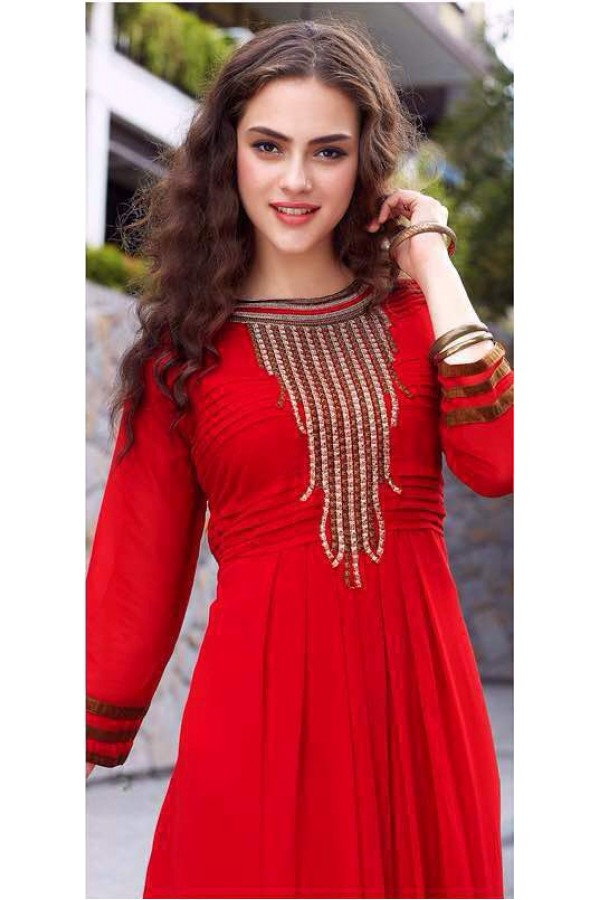 Party  Wear Readymade Red Georgette Kurti - Sparrow1059
