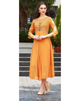 Casual Wear Readymade Yellow Georgette Kurti - Sparrow1061