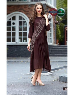 Ethnic Wear Readymade Brown Georgette Kurti - Sparrow1062