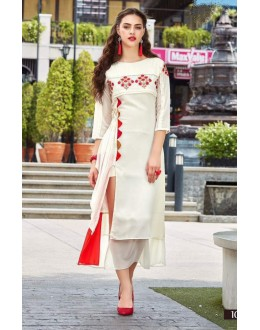 Party Wear Readymade Cream Georgette Kurti - Sparrow1063
