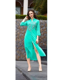 Ethnic Wear Readymade light Firozi Georgette Kurti - Sparrow1065