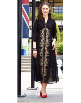 Festival Wear Readymade Black Georgette Kurti - Sparrow1066
