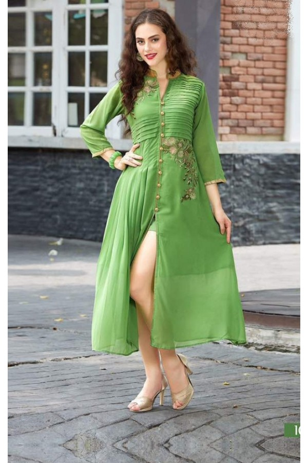 Party Wear Readymade Light Green Georgette Kurti - Sparrow1067