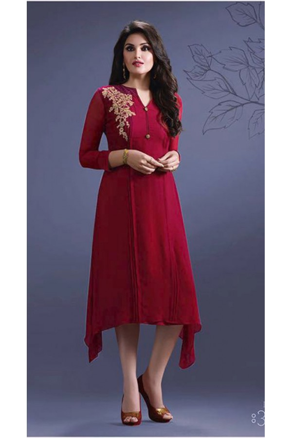 Festival Wear Readymade Red Georgette Kurti -Suhani33454-A