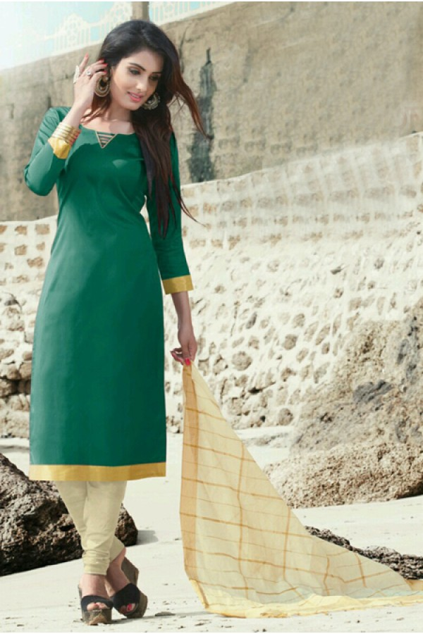 Office Wear Green Cotton Satin Salwar Suit  - SC016Green
