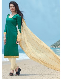 Ethnic Wear Green Cotton Satin Salwar Suit  - SC019Green