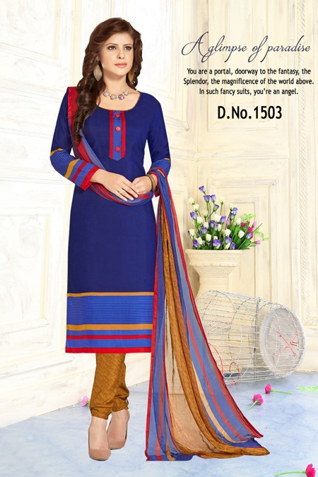 Ethnic Wear Blue Pure Cotton Salwar Suit - Trishti1503