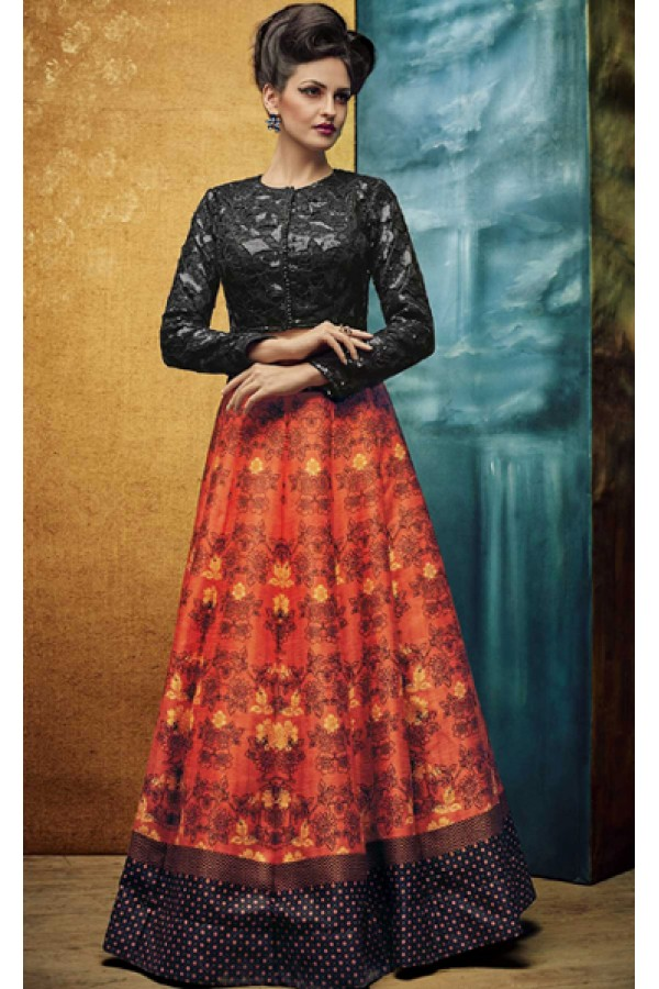Ethnic Wear Orange Banglori Silk Crop Top Lehenga - VrundaZC-FP01